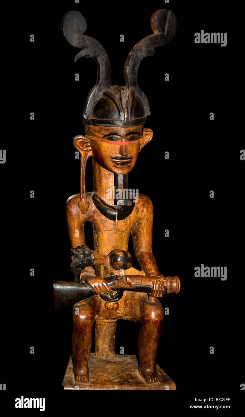 Man Nias  gun rifle musket Sumatra Utara 19th Cent Indonesia Indonesian - Stock Image