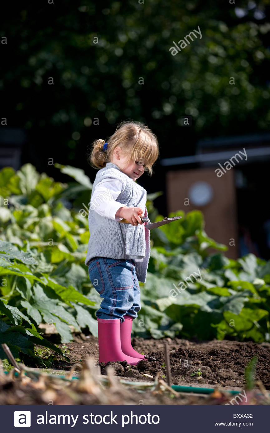 A young girl digging on an allotment - Stock Image
