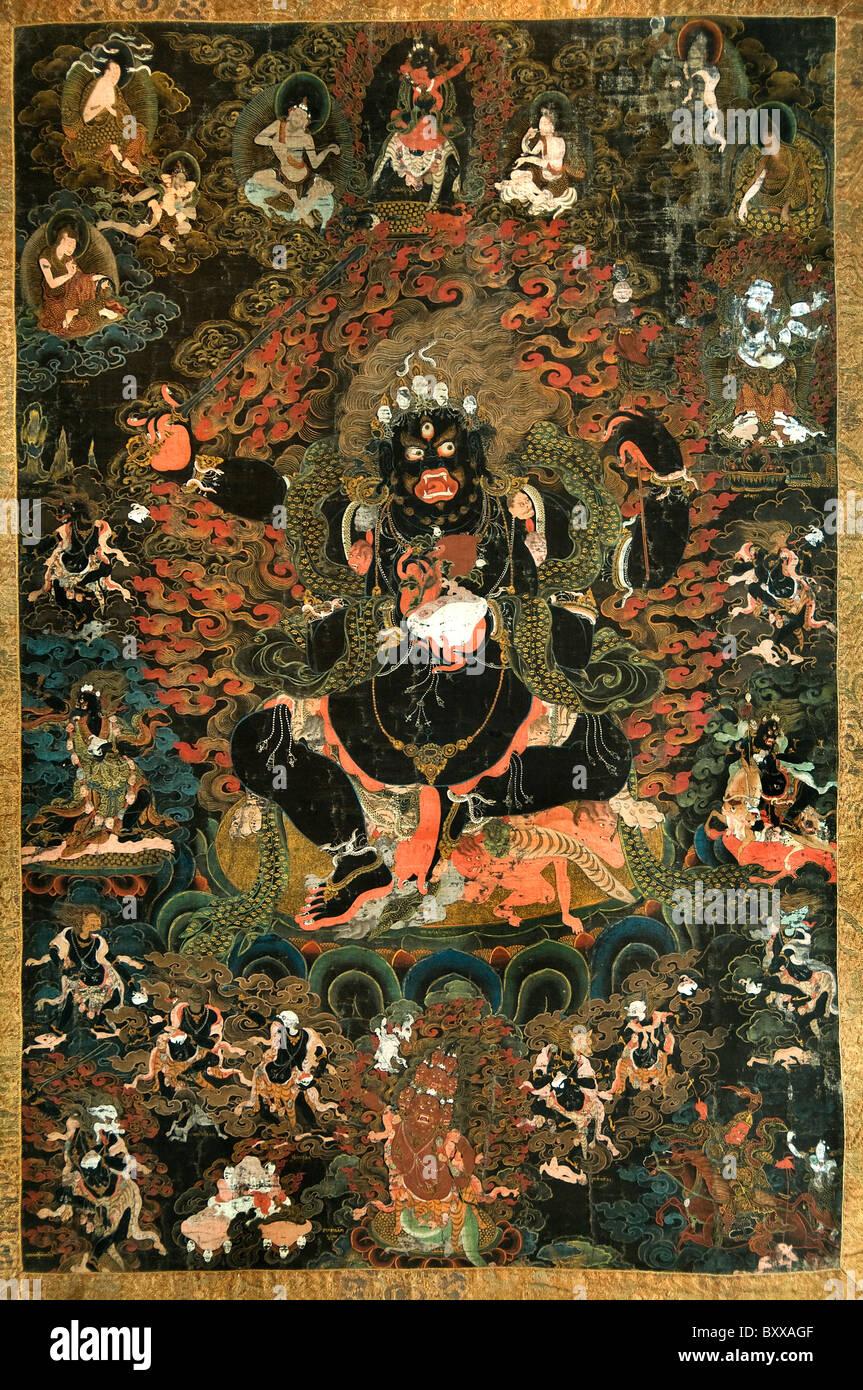 Thangka with Acala Tibet China 18 19 cent Painting Buddhism  Himalayas - Stock Image
