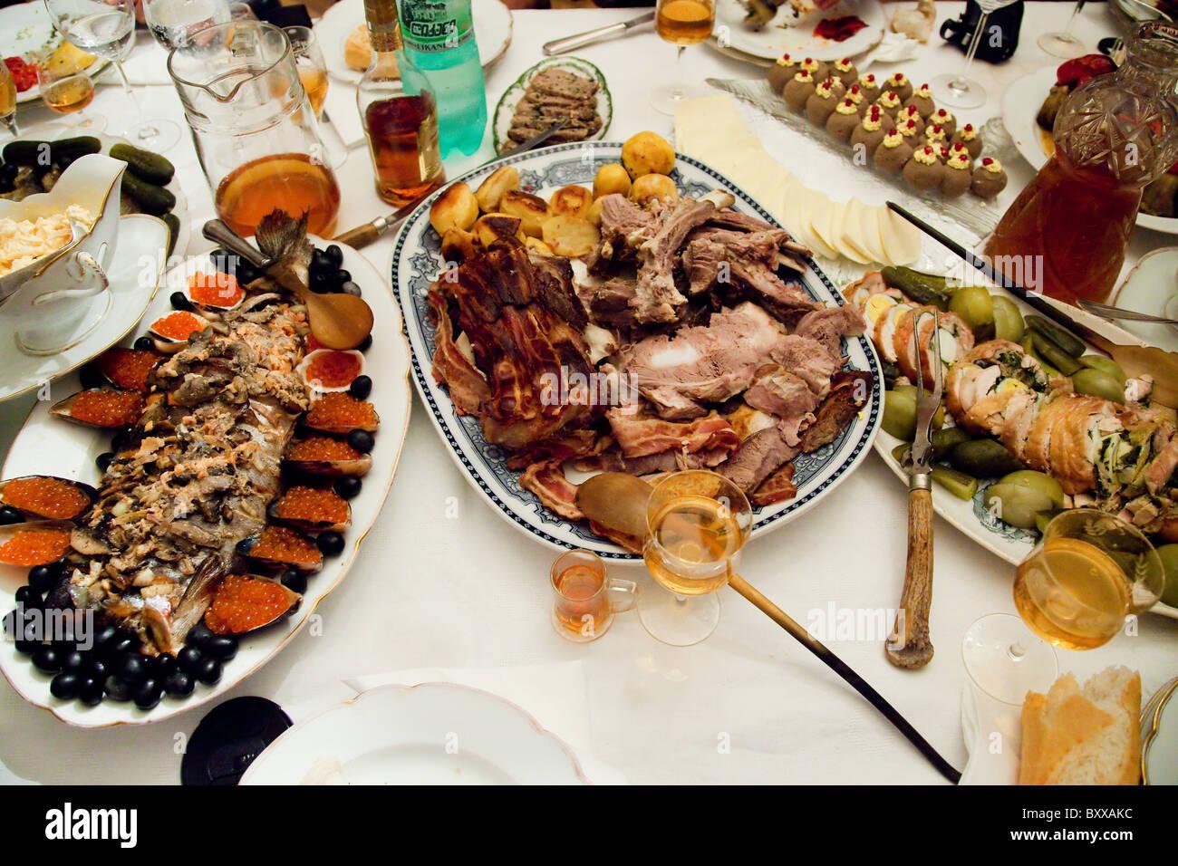 Georgian feast of many dinner dishes including caviar in Tbilisi Georgia. JMH4091 - Stock Image