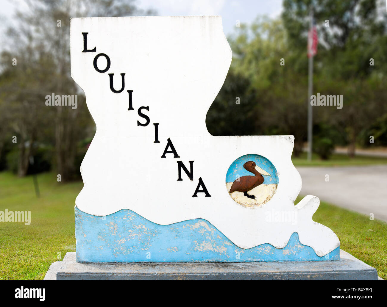 Welcome to Louisiana sign at the Welcome Center, Lousiana,USA - Stock Image