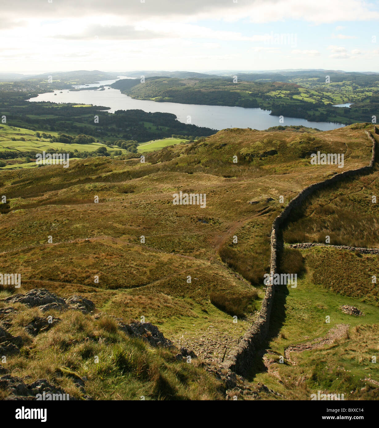 A view from Wansfell Pike overlooking Lake Windermere in the English Lake District National Park Cumbria England - Stock Image
