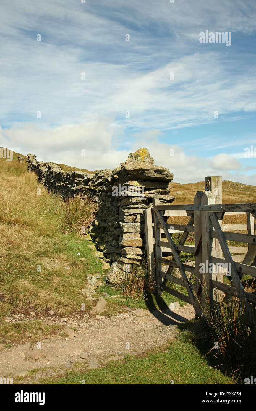A gate near to Nanny Lane near to Troutbeck in the English Lake District Cumbria England UK - Stock Image