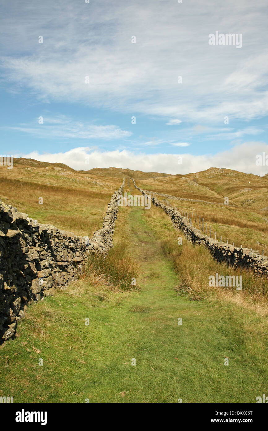Nanny Lane, a green lane near to Troutbeck in the English Lake District Cumbria England UK - Stock Image