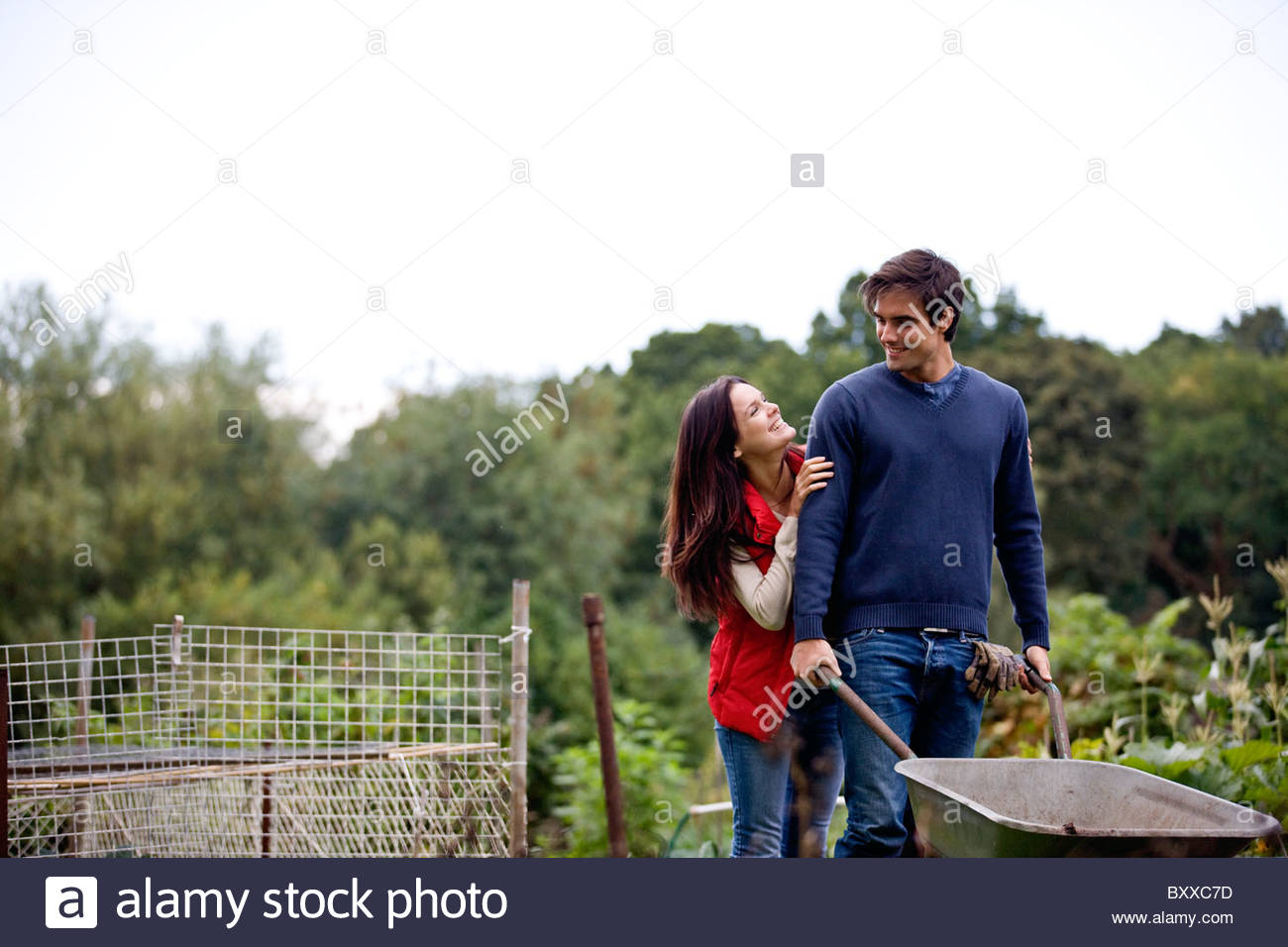 A young couple pushing a wheelbarrow on an allotment - Stock Image