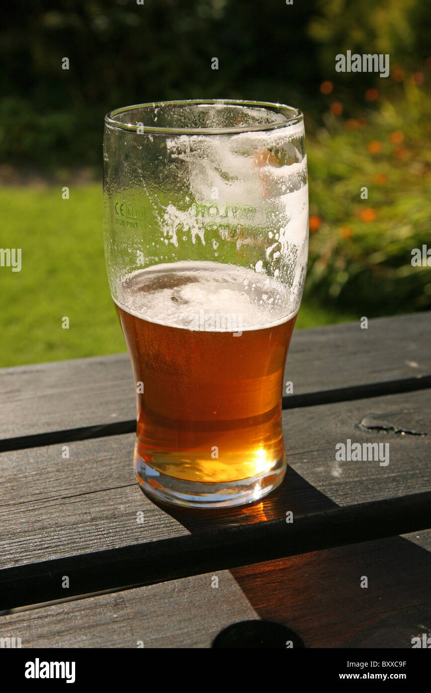 A pint glass of real ale beer, either half full or half empty! - Stock Image