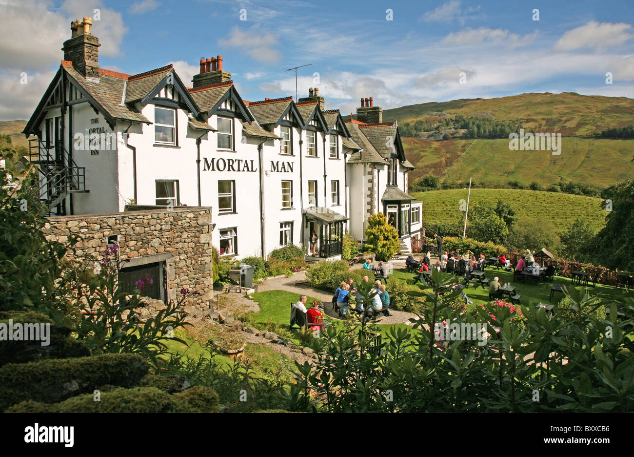 The Mortal man pub, inn or public house at Troutbeck in the English Lake District Cumbria England UK - Stock Image
