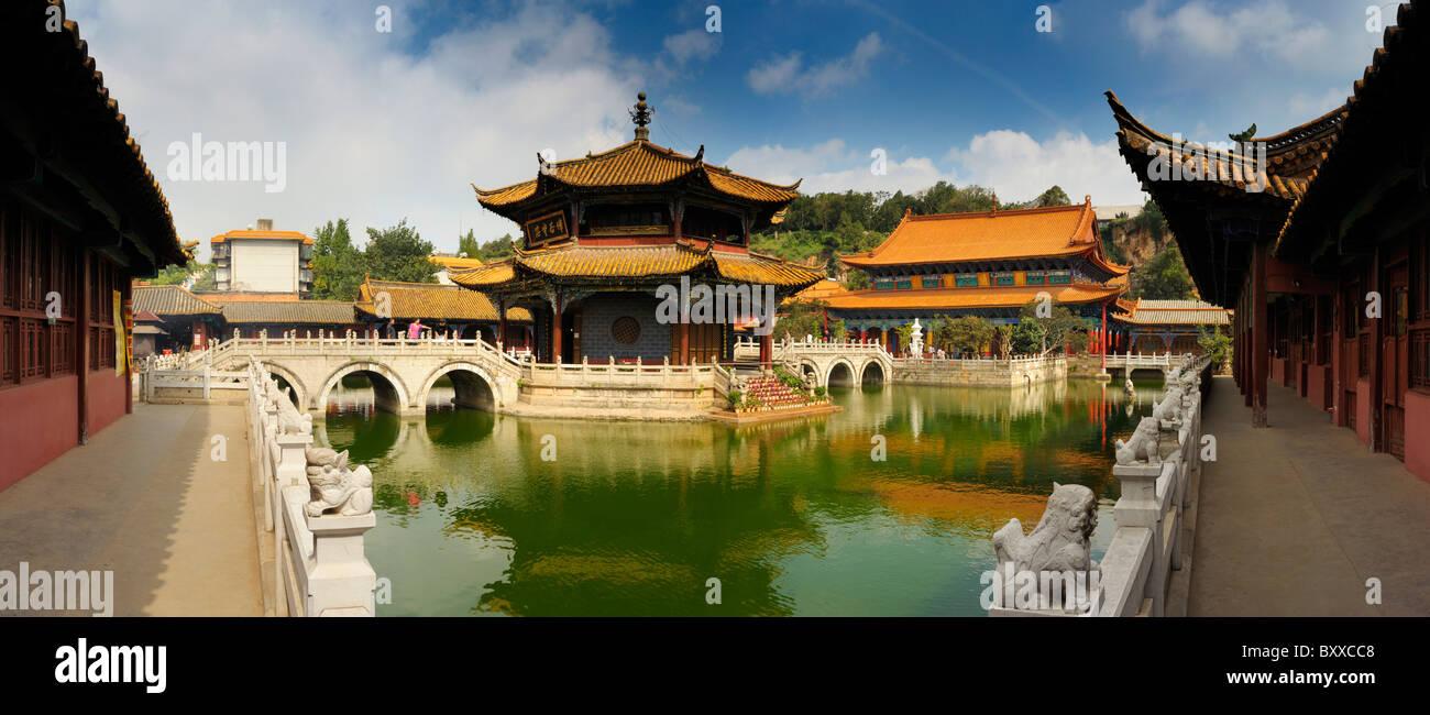 Ninety degree panorama of Yuantong Temple, Kunming, Yunnan, China. - Stock Image