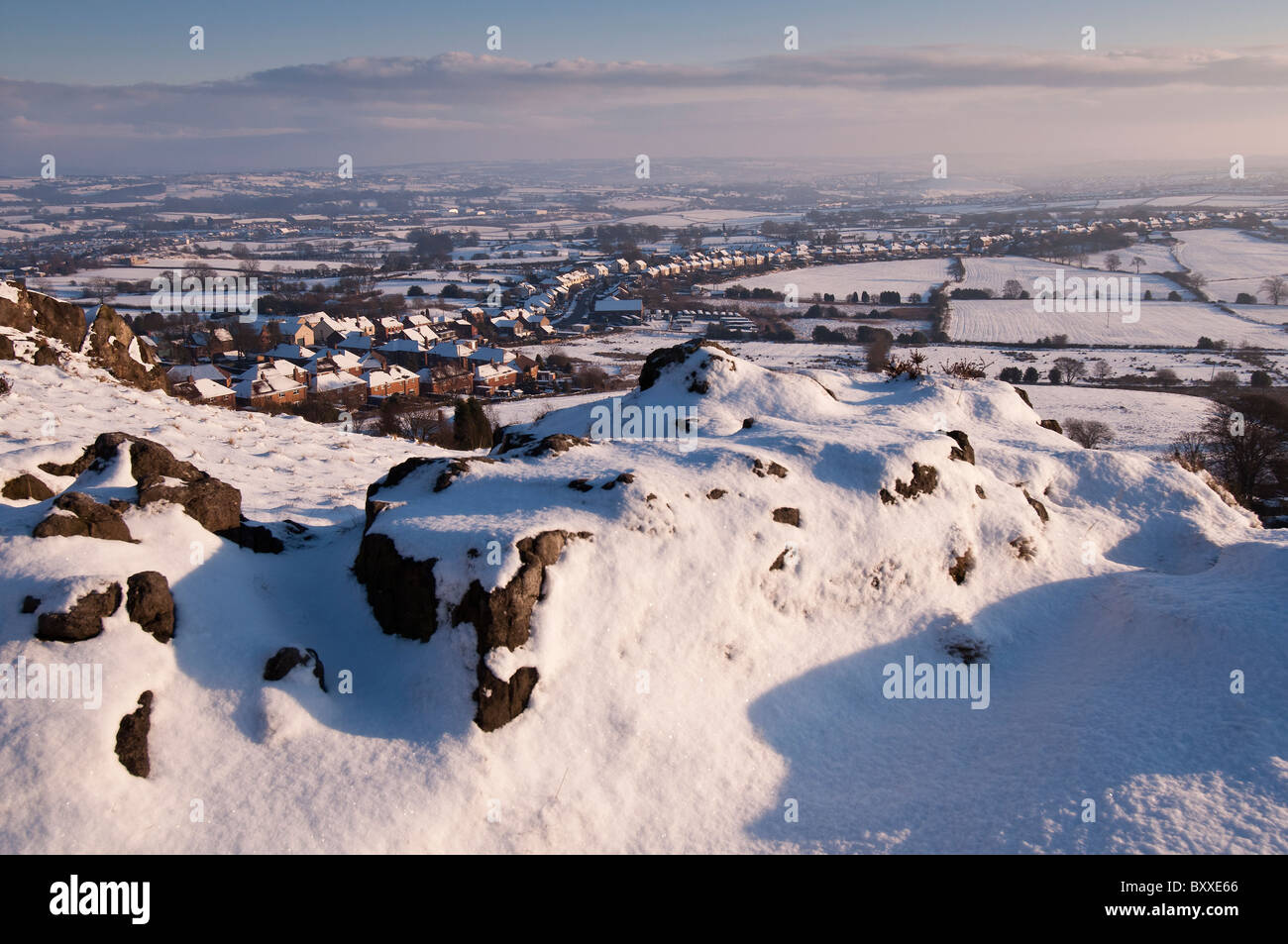 Winters afternoon, looking over North Staffordshire from Mow Cop summit on the Staffordshire / Cheshire border - Stock Image
