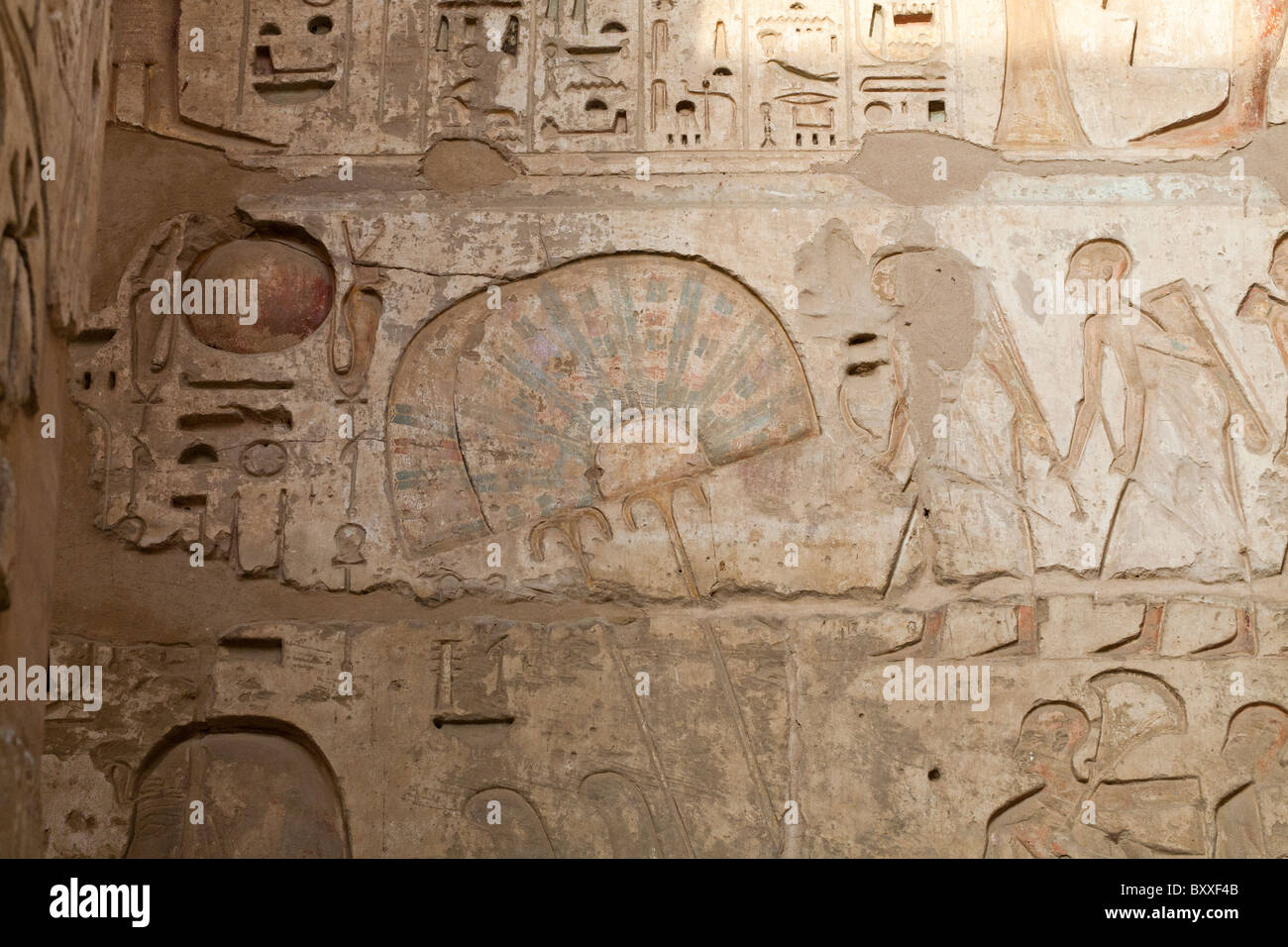 Relief of Fan on Portico wall at Medinet Habu , Mortuary Temple of Ramesses III, West bank of Nile, Luxor, Egypt - Stock Image