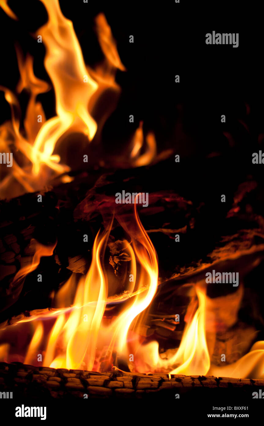 Fire on Christmas night - Stock Image