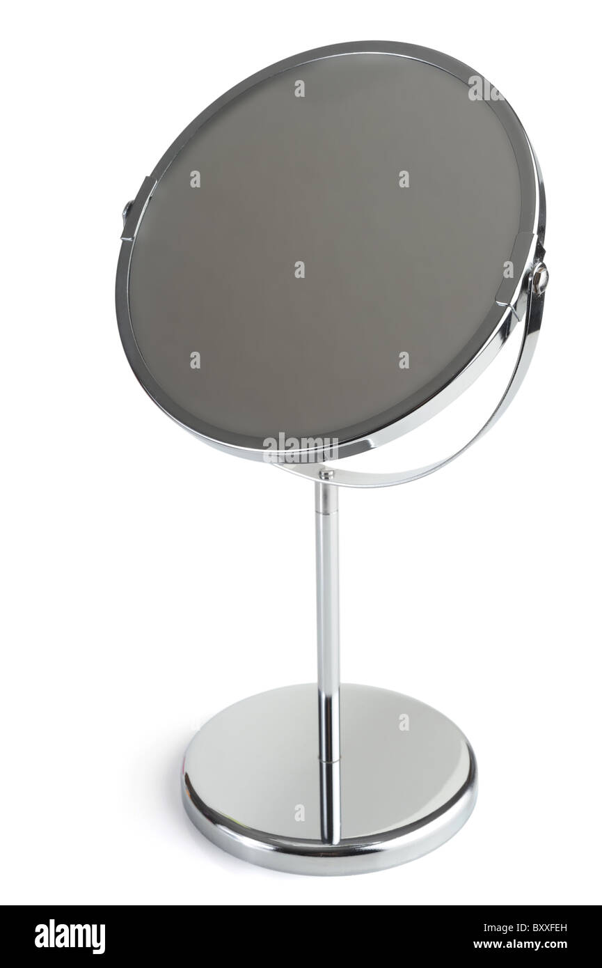 Silver cosmetic mirror studio isolated on white background - Stock Image