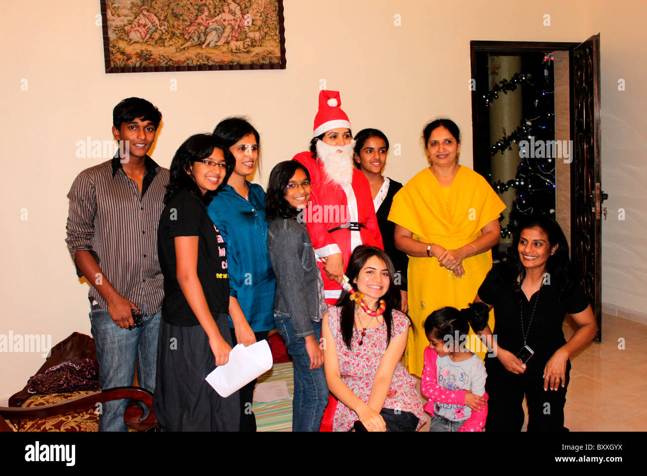 christmas celebration by an indian family stock image - Do They Celebrate Christmas In India