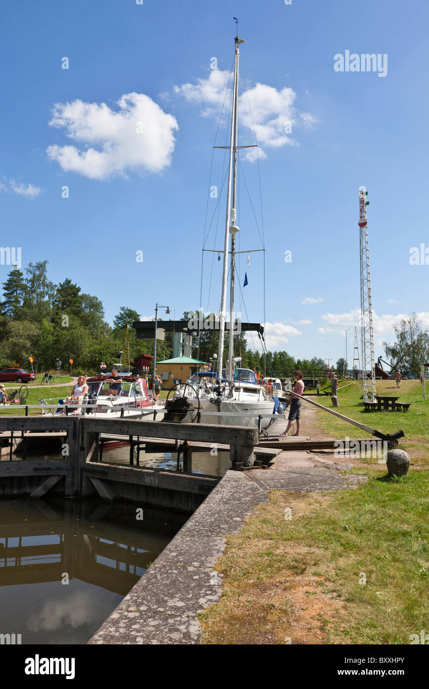 Locking of pleasure boats on the canal Stock Photo