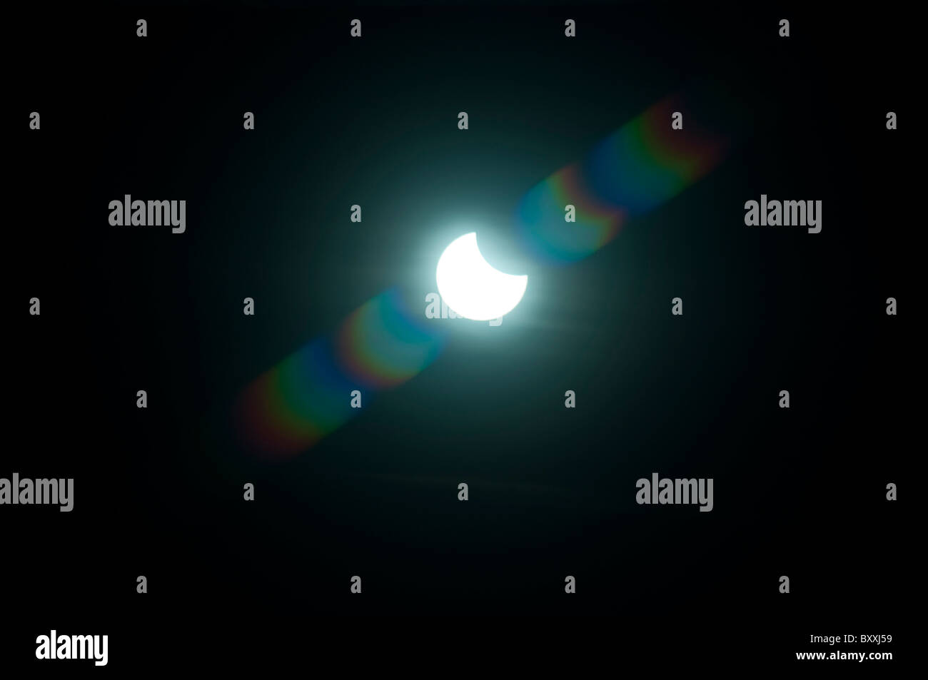 solar eclipse of the 4 january 2011 - Stock Image