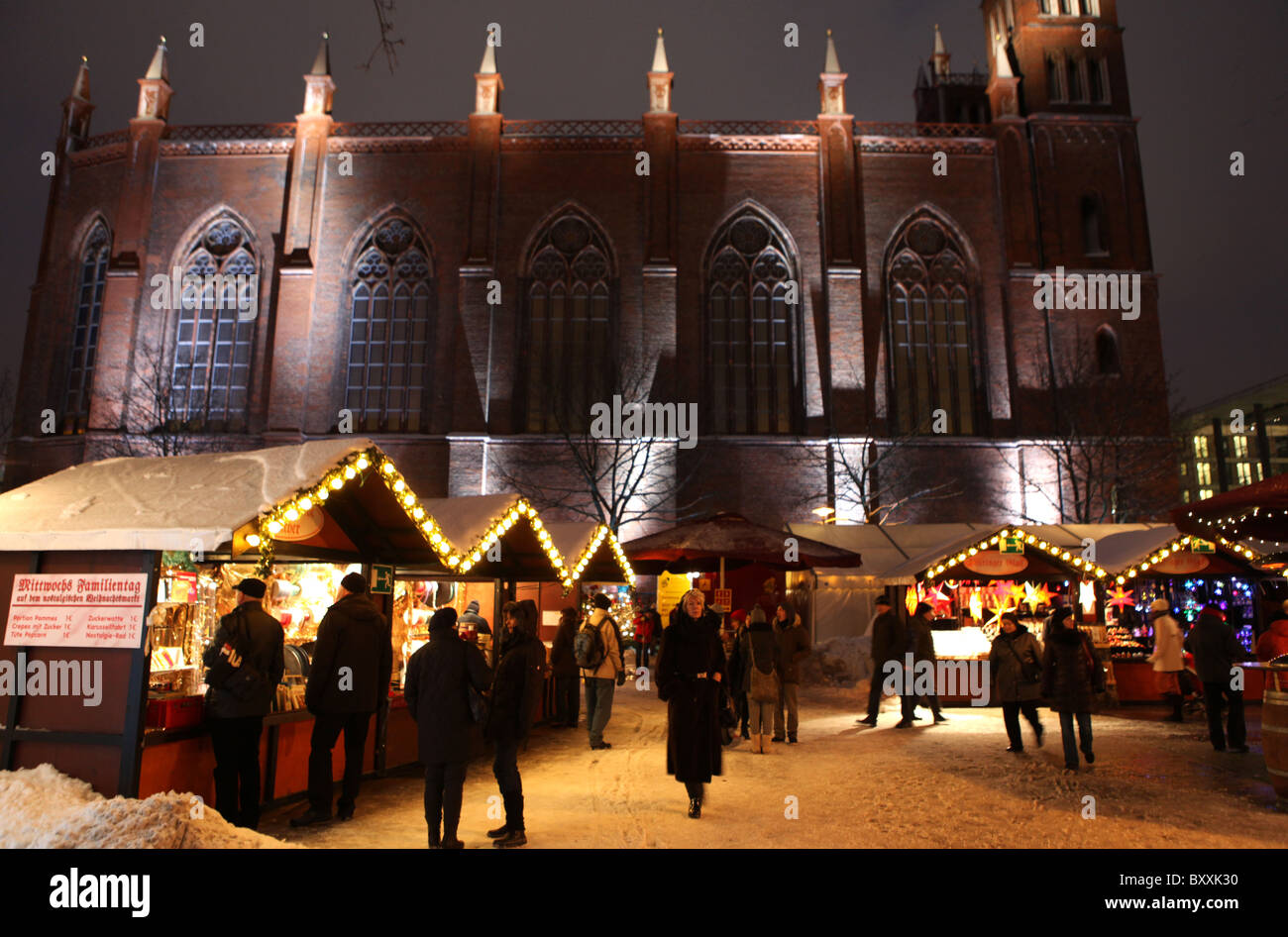 A Christmas market in central Berlin, Germany. - Stock Image