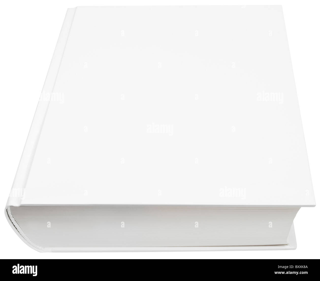 Image of blank white hard book cover isolated with clipping path - Stock Image