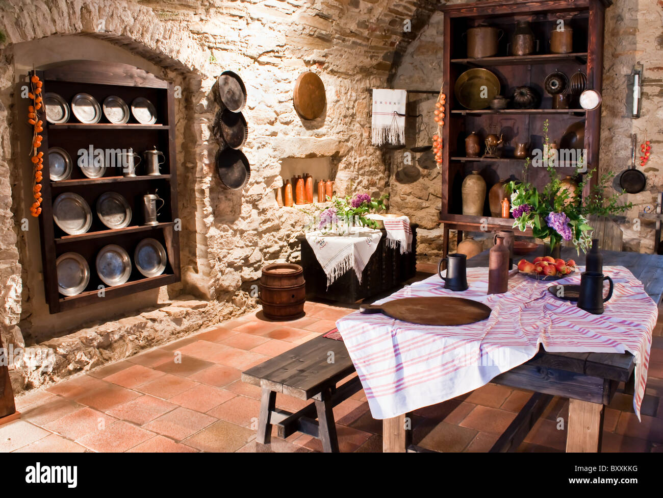 Old Kitchen Of Castle Stock Photo 33777620 Alamy
