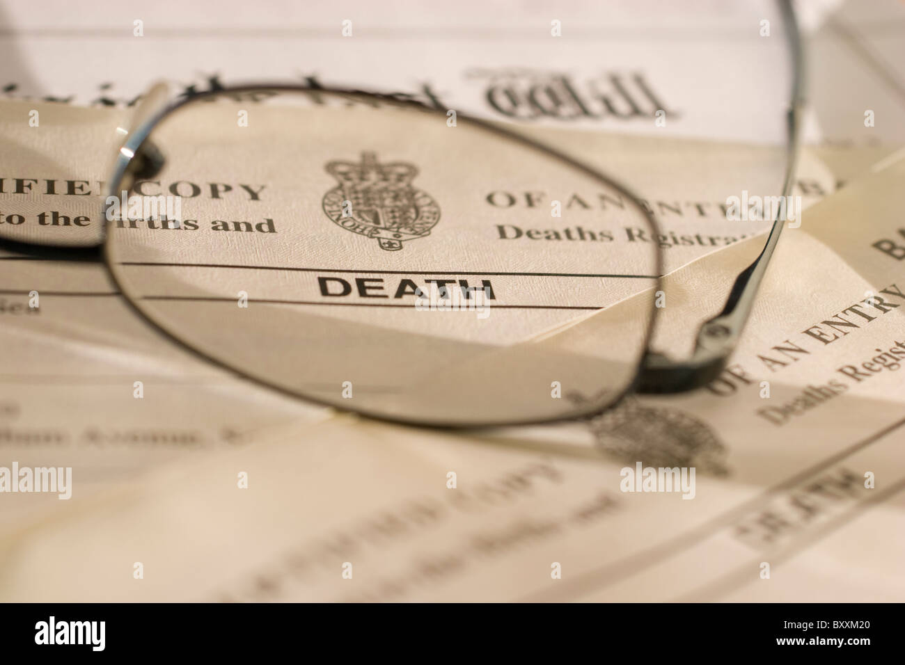 UK Death certificate, certificates, with last will and testament - Stock Image