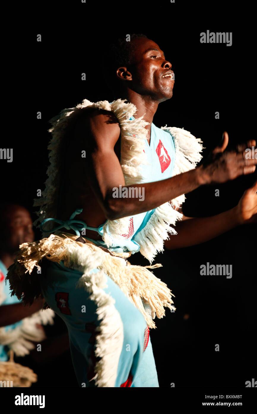 Musicians and dancers at the 12th biannual Salon International de l'Artisanat de Ouagadougou (SIAO) in Burkina Faso. Stock Photo