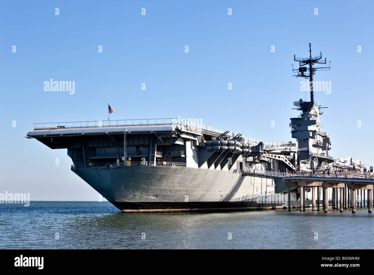 USS Lexington CV16, aircraft carrier, - Stock Image