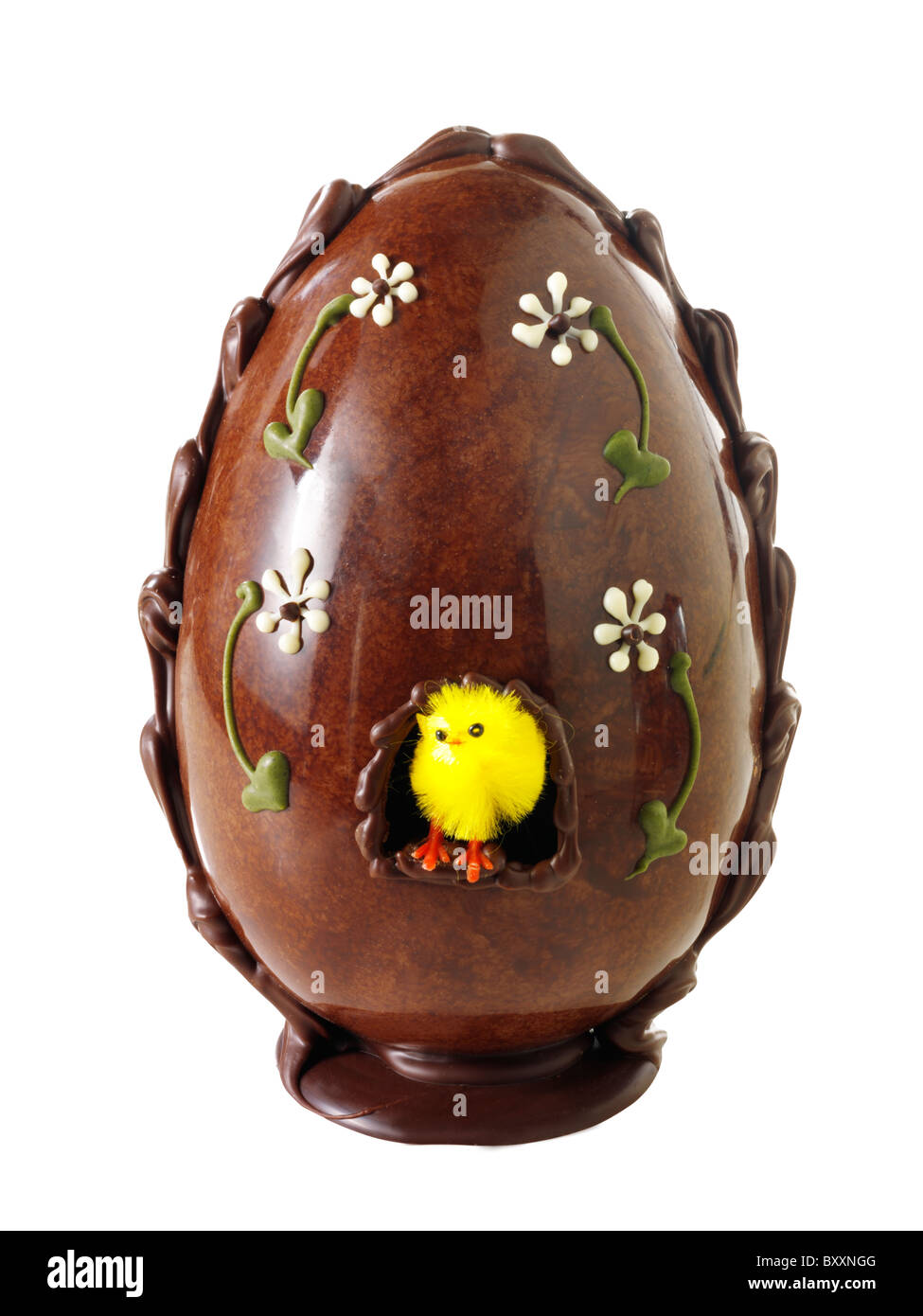 Easter Candy Eggs: Traditional Decorated Chocolate Easter Eggs Stock Photo