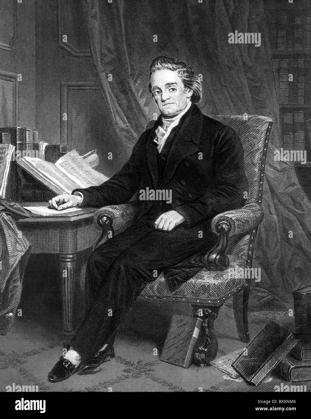 Noah Webster, American lexicographer, textbook pioneer, spelling reformer, political writer, editor, and prolific - Stock Image