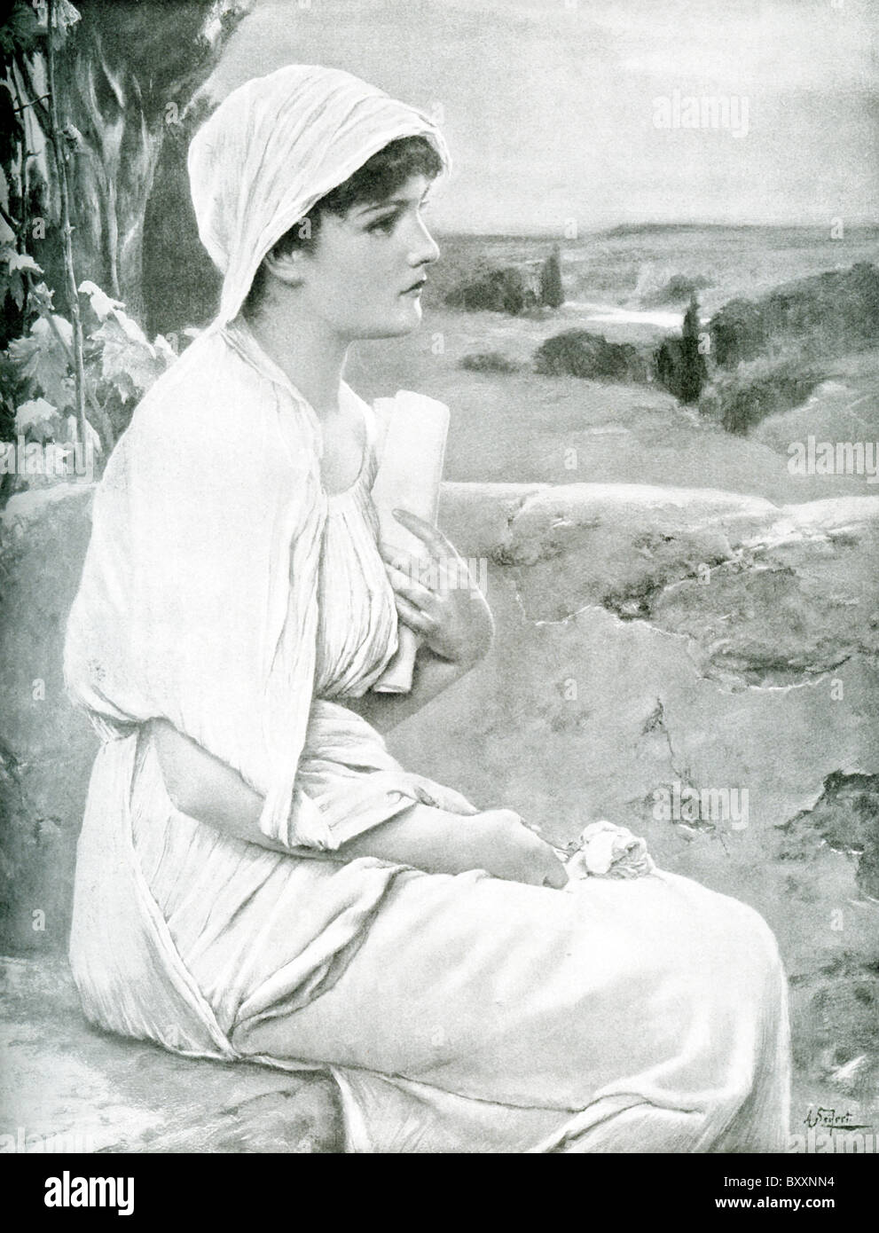 Hypatia was a Greek scholar from Alexandria in Egypt. Hypatia taught math at the Museum of Alexandria. She died - Stock Image