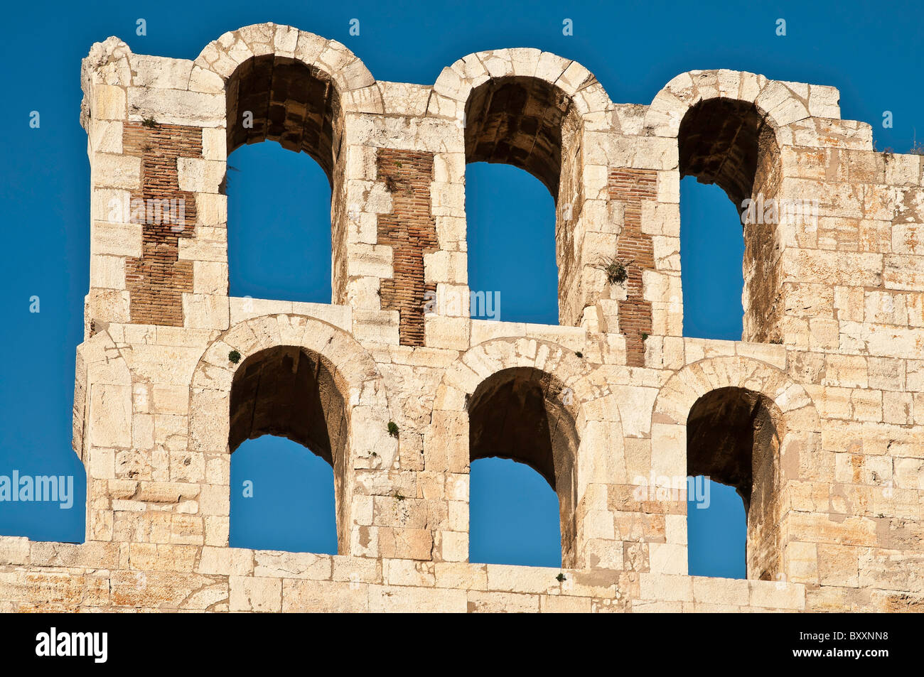 Detail of arches on the Odeon of Herodes Atticus, built in AD 161, on the southern slopes of the Acropolis, Athens, - Stock Image