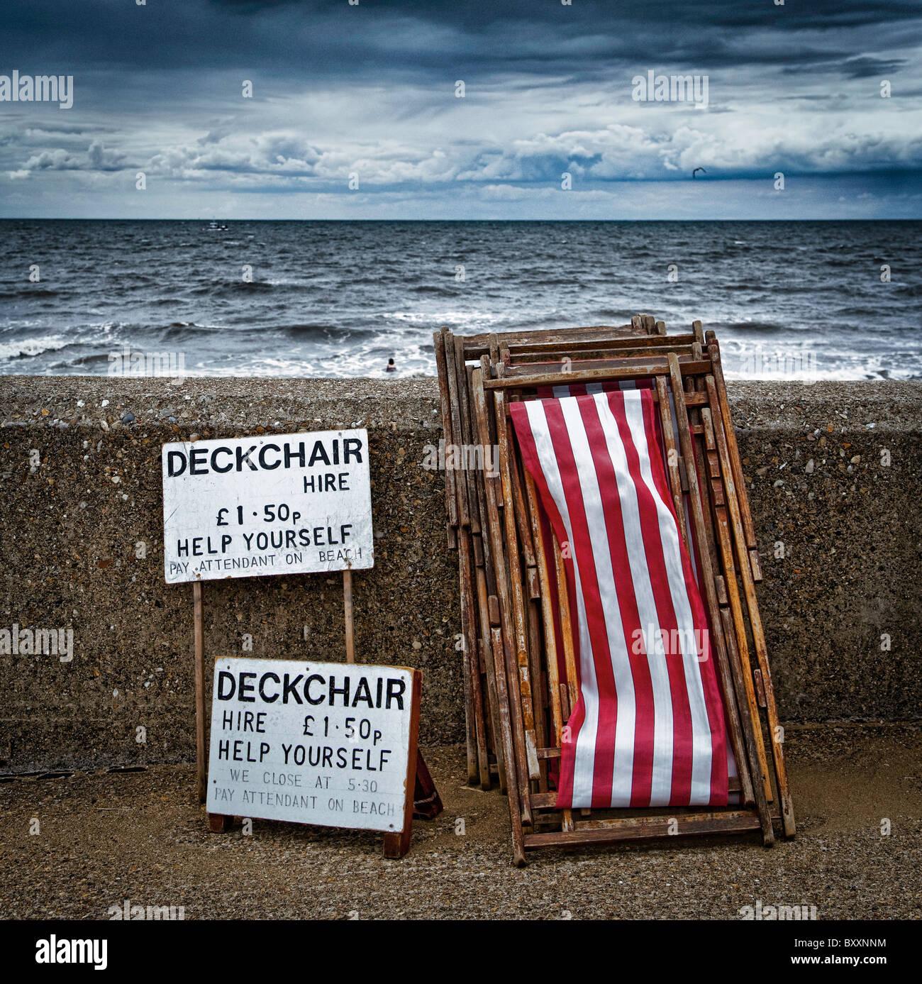 Deckchair' s for Hire, Hunstanton, Norfolk, Britain - Aug 2010 - Stock Image