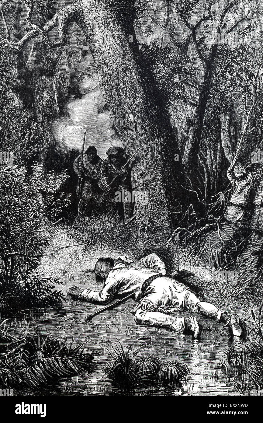 The  leader of the Native Americans in King Phillips' War, Metacom (King Phillip to the English)  was killed - Stock Image