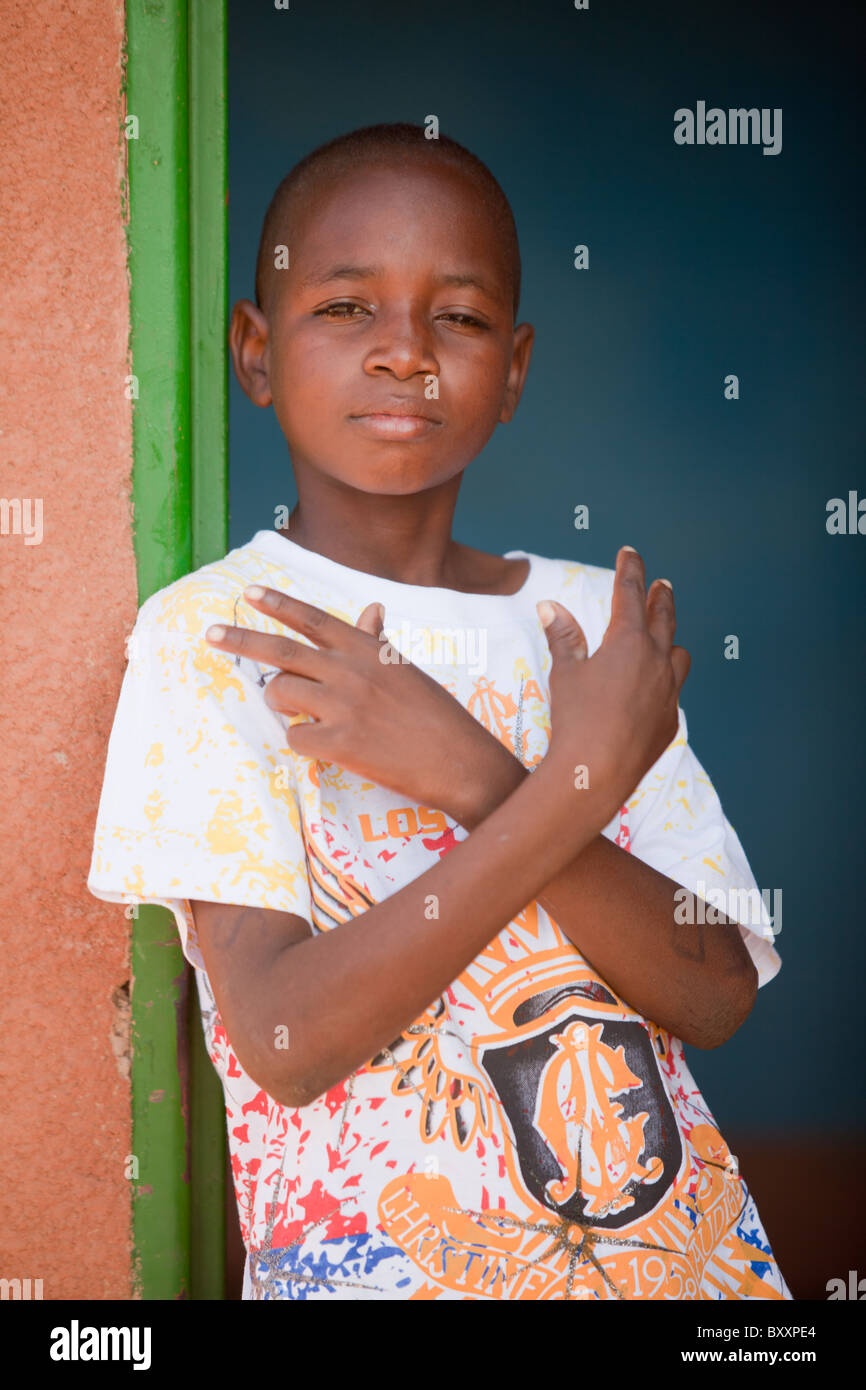 Fulani boy in Djibo, northern Burkina Faso. - Stock Image