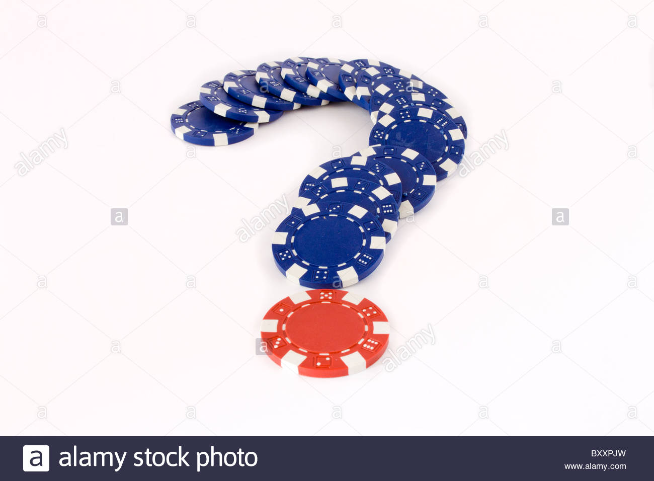 closeup of blue and red chips for simulate question - Stock Image