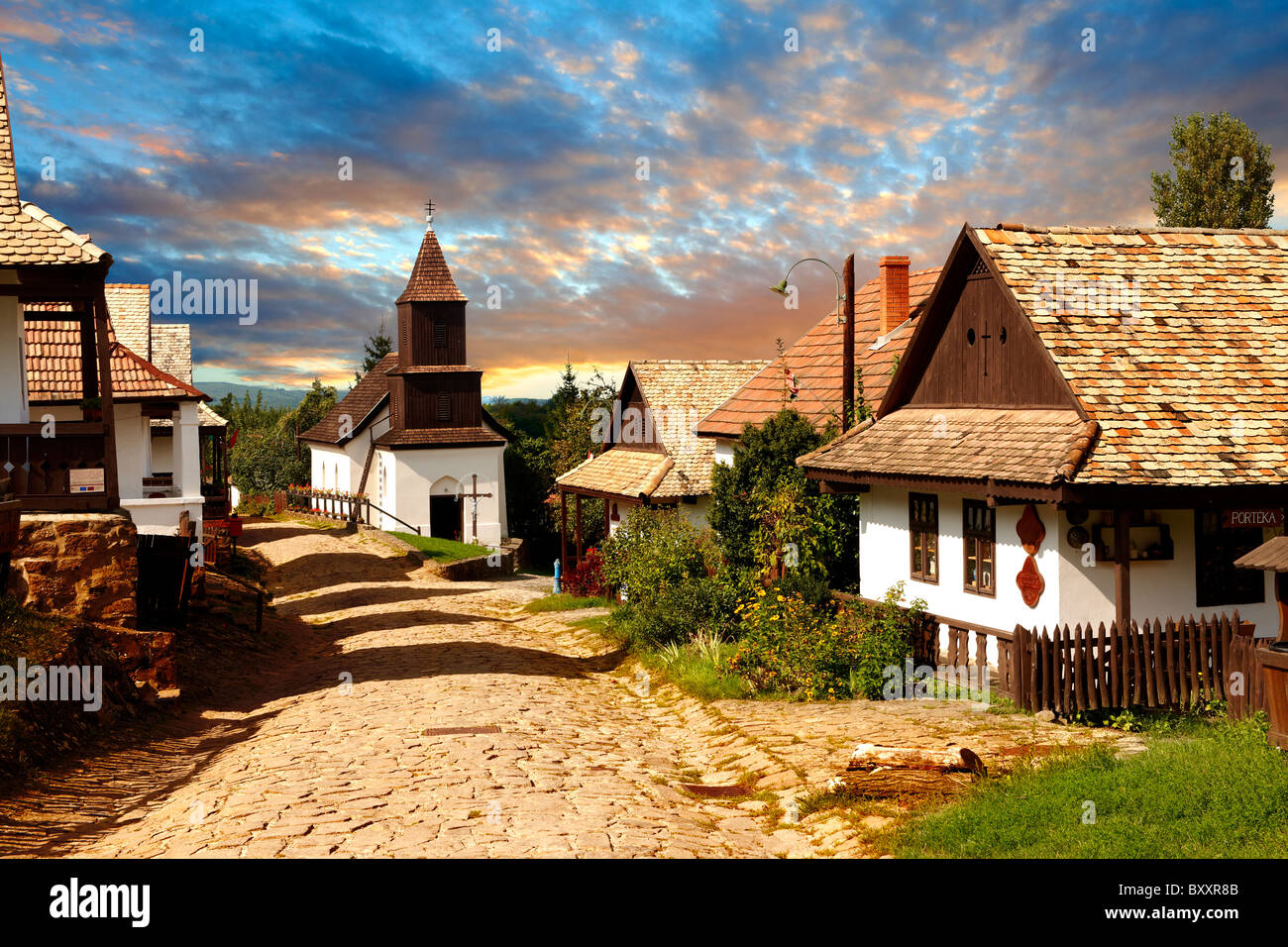 Main Street of Hollókő ( Holoko ) Paloc ethnographic village. Hungary - Stock Image