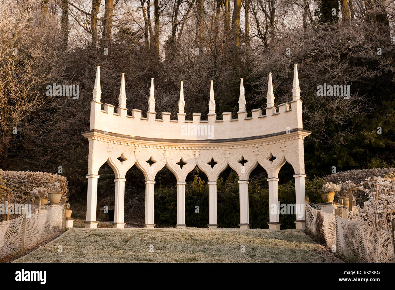 Exedra at Painswick Rococo Garden in the winter, Gloucestershire, England, United Kingdom - Stock Image
