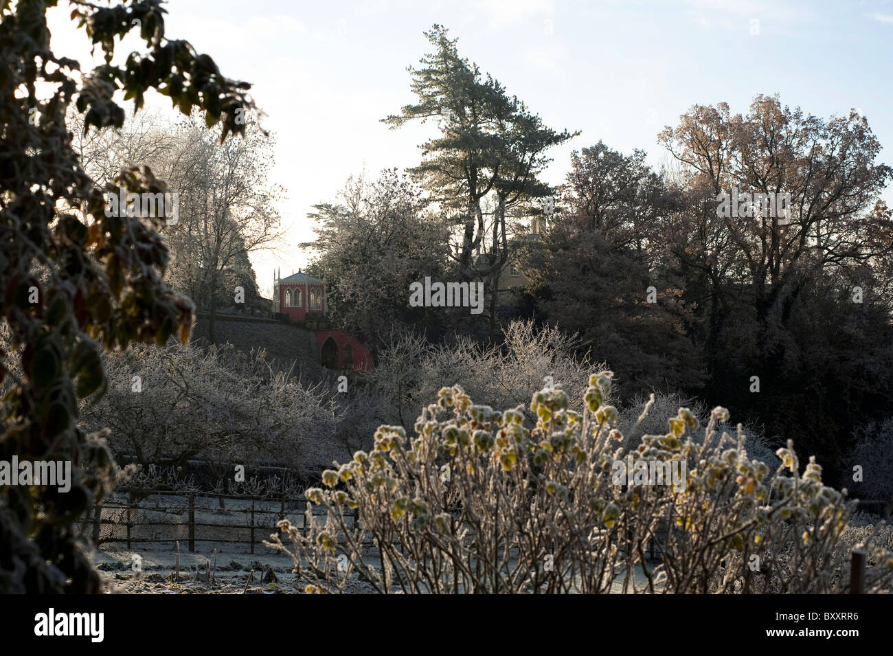 Painswick Rococo Garden in the winter after a heavy frost, Gloucestershire, England, United Kingdom - Stock Image