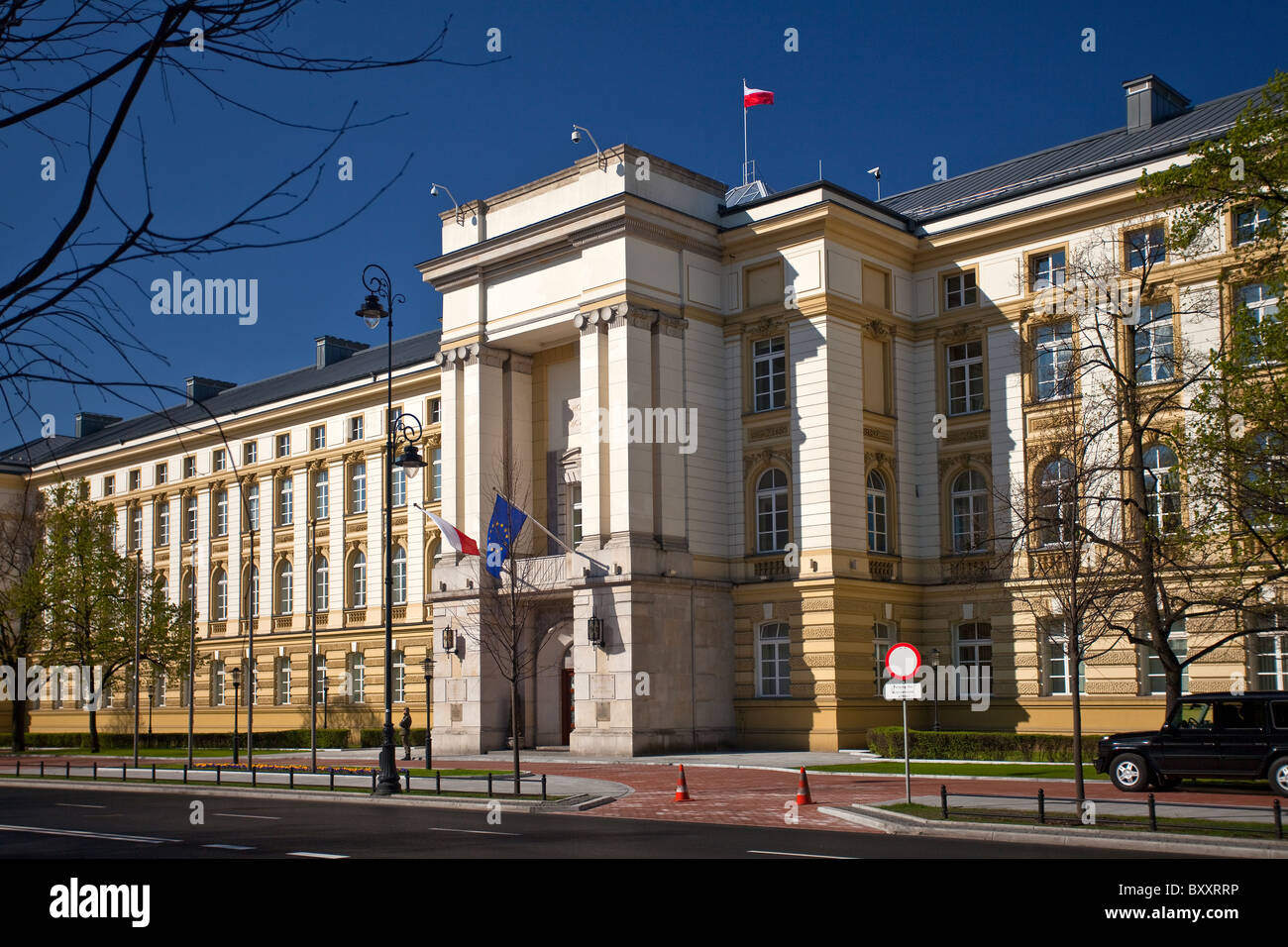 Chancellery of the Prime Minister in Ujazdowskie Avenue, Warsaw Poland - Stock Image