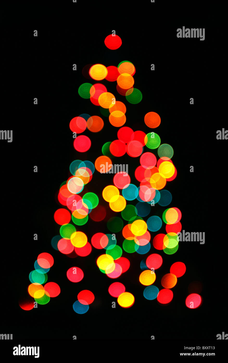 Blurred, de-focused Christmas Tree - Stock Image