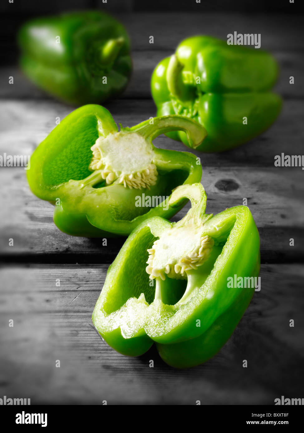 Green bell peppers photos, pictures & images - Stock Image