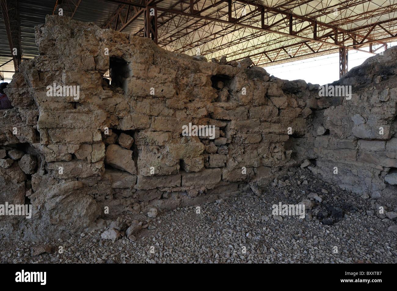 Mud brick walls of the palace, Turkey 100921_36596 - Stock Image
