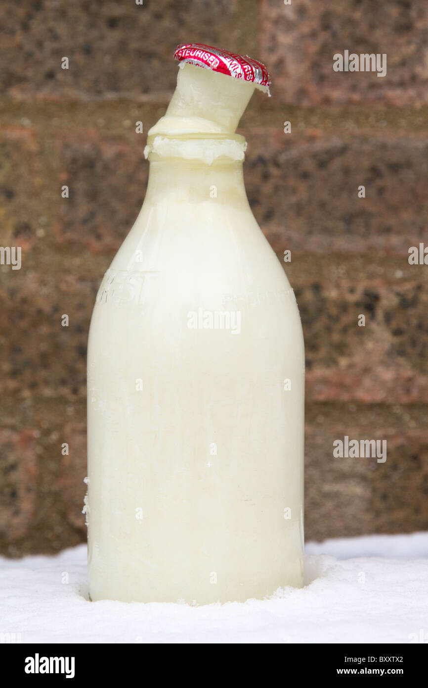 Frozen Milk Has Pushed The Cap Off This Milk Bottle In The