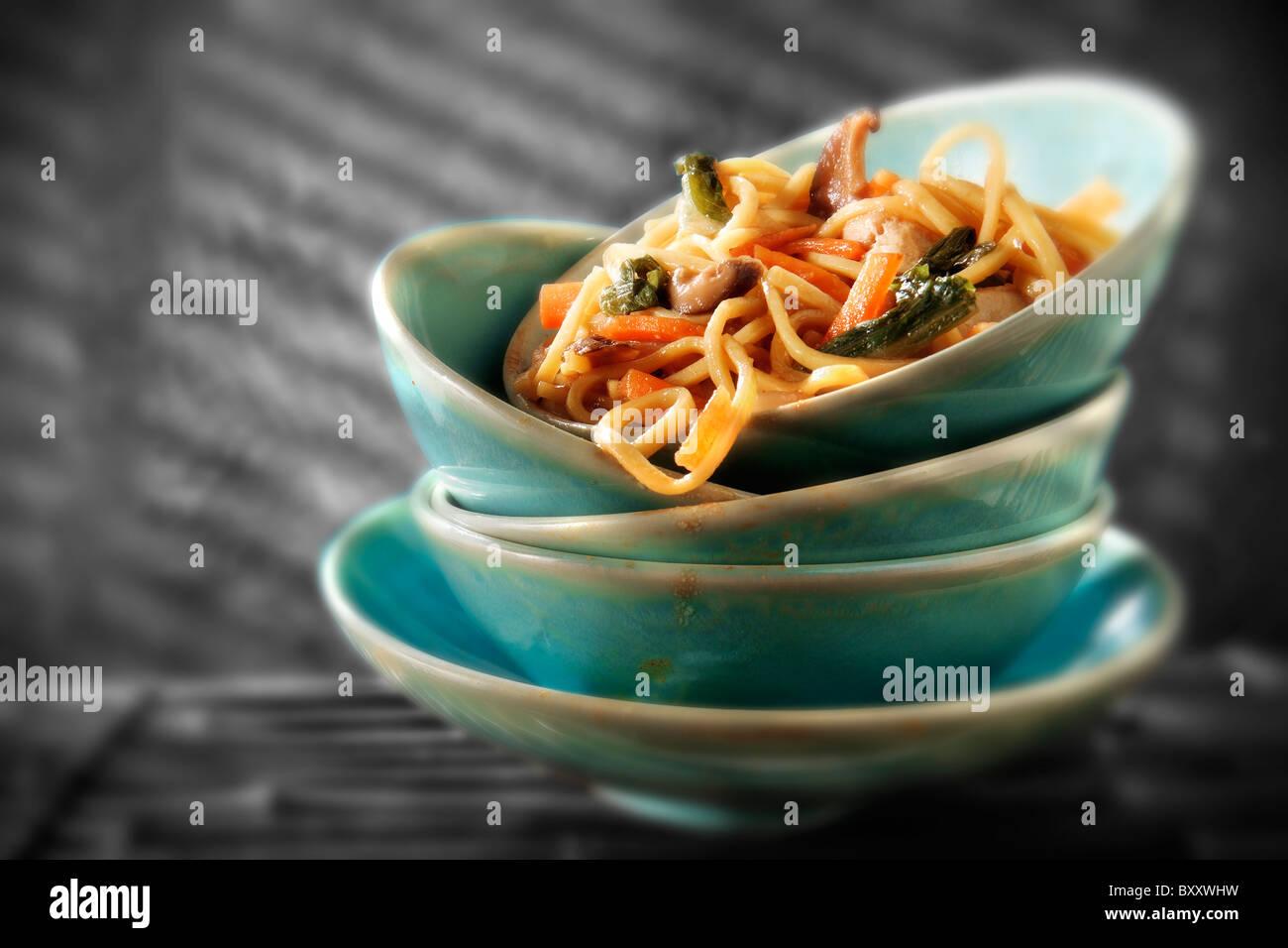 Chinese Stir fried vegetables & noodles - Stock Image
