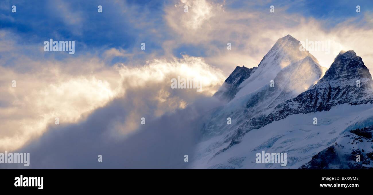 Wetterhorn Mountain in clouds at sunset. Swiss Alps, Switzerland - Stock Image