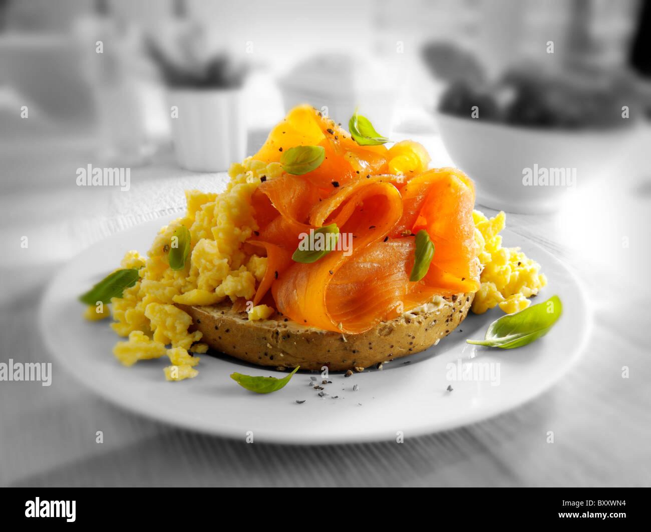 Smoked Salmon & scrambled eggs Bagel - Stock Image