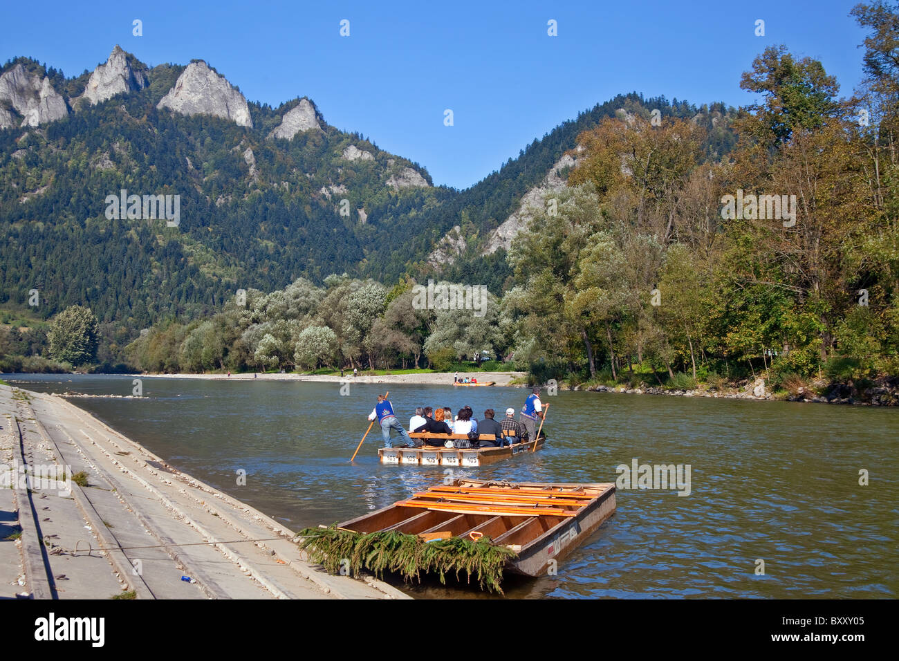 Rafting on Dunajec and Three Crowns in the Pieniny, Poland - Stock Image