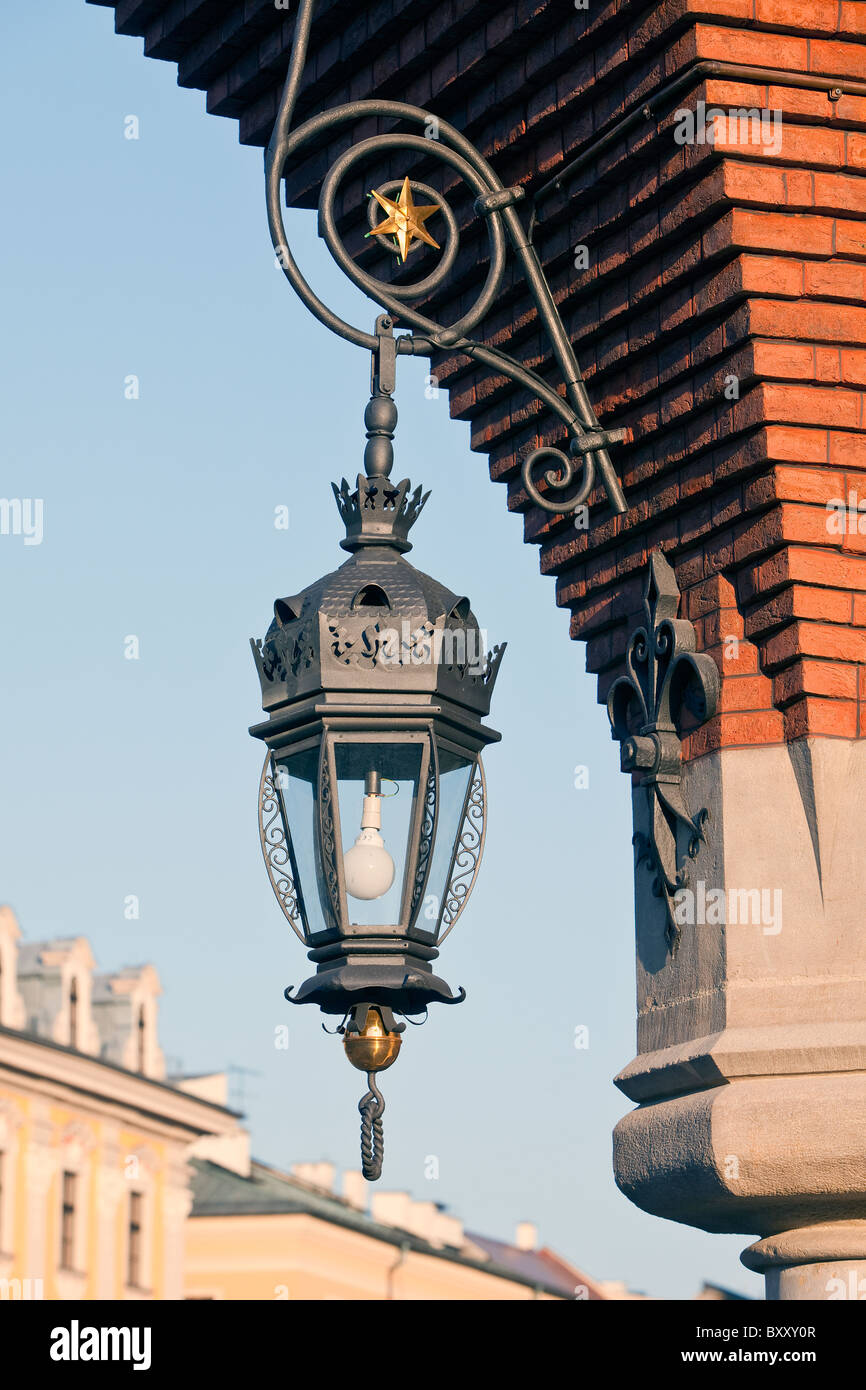 The lamp in Cloth Hall, architectural detail, Cracow, Poland - Stock Image