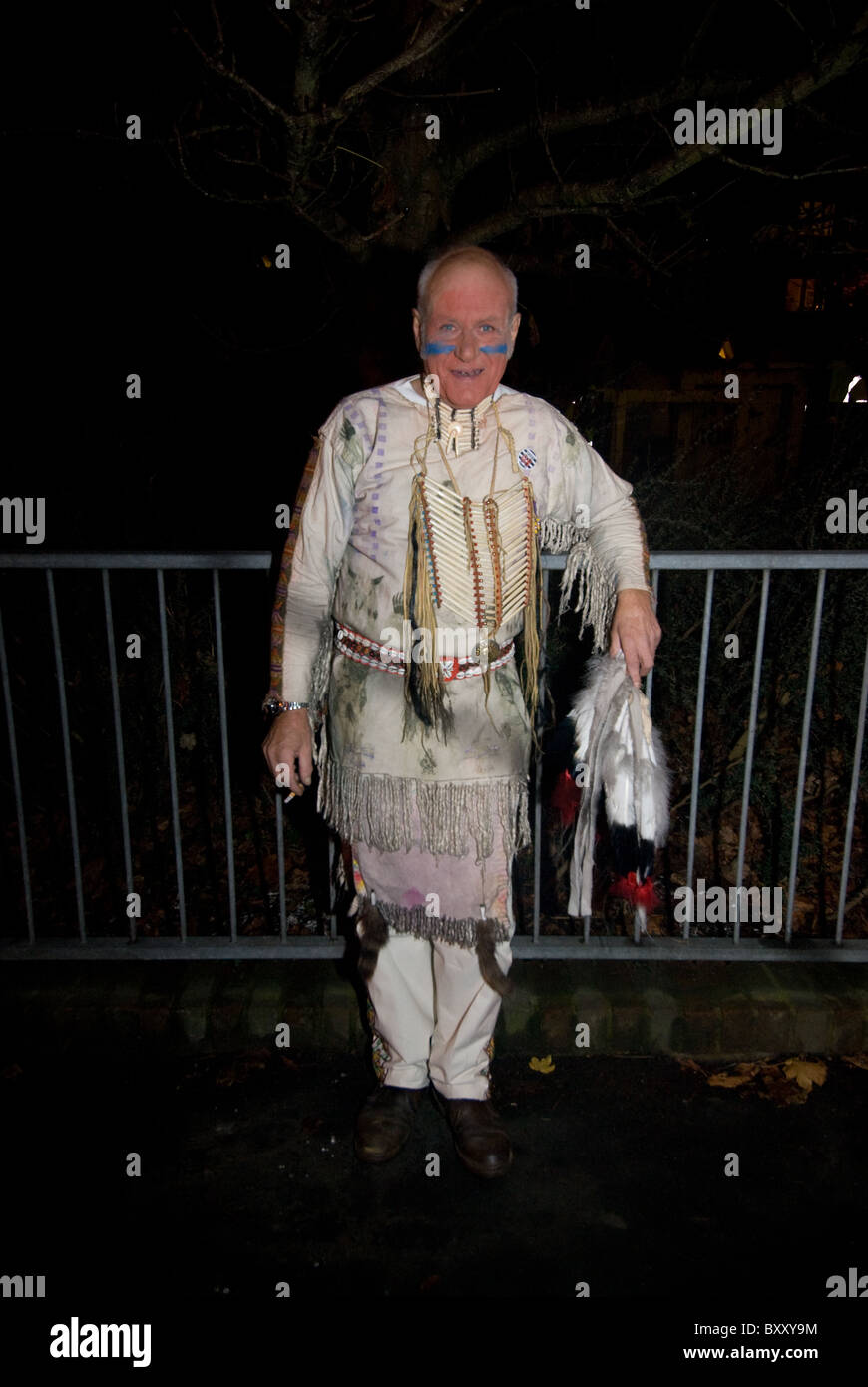 Man in Indian costume for Lewes Bonfire night - Stock Image
