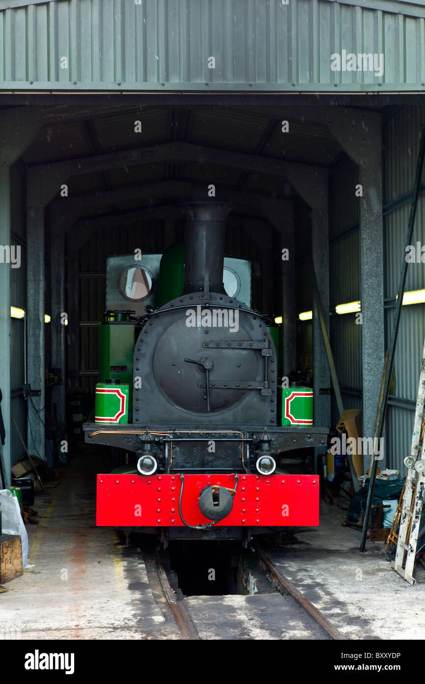 Steam locomotive engine Slieve Callan fuelled by turf, preserved by West Clare Railway at Moyasta, County Clare, - Stock Image