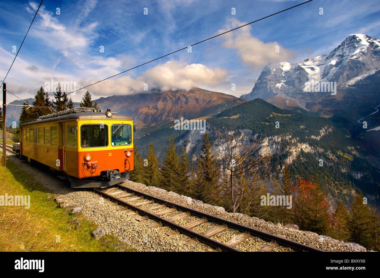 Murren fenicular Train - Switzerland - Stock Image