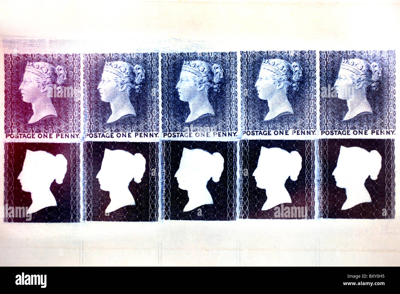 The penny black postage stamp. - Stock Image